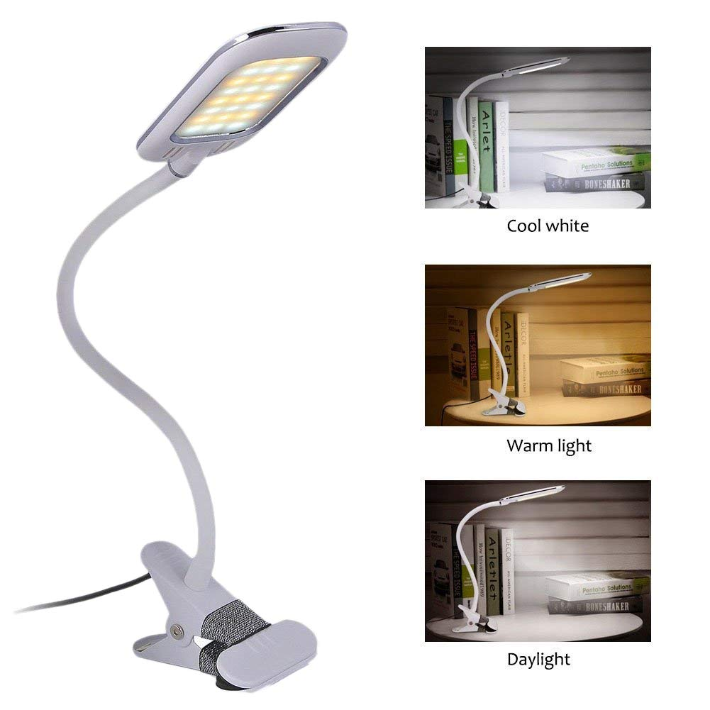 Eyocean Clamp Reading Light for Bed Headboard, Bedroom with 3 Color Modes,11 Dimming Levels, Clip on Desk Lamp, Adapter Included, 5W, Black