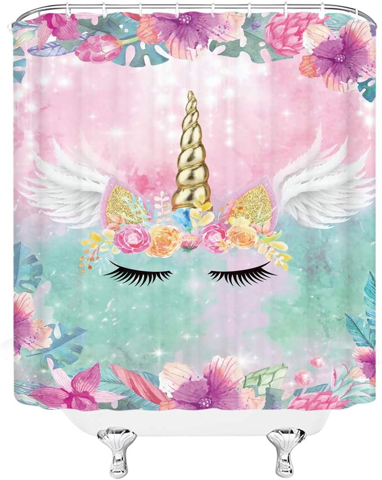 Fantasy Unicorn Shower Curtain Gold Unicorn Angel Wing Cartoon Magic Head Pink Watercolor Flower Dreamy Kids Girl Floral Creative Fairy Tale Romantic Bath Curtain Decor Fabric with Hook