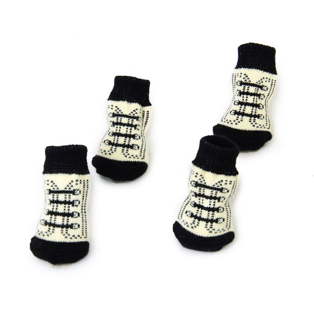 Calcetines Non-Slip para Perro Gato Patrón de Garra Shoelace Negro Blanco L: Amazon.es: Juguetes y juegos
