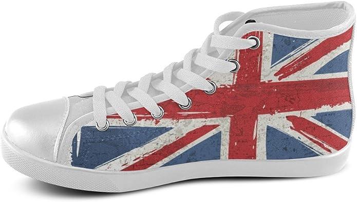 d-Story Personalizado Bandera británica de Alta Superior Hombres Zapatillas Zapatos de Lona: Amazon.es: Zapatos y complementos
