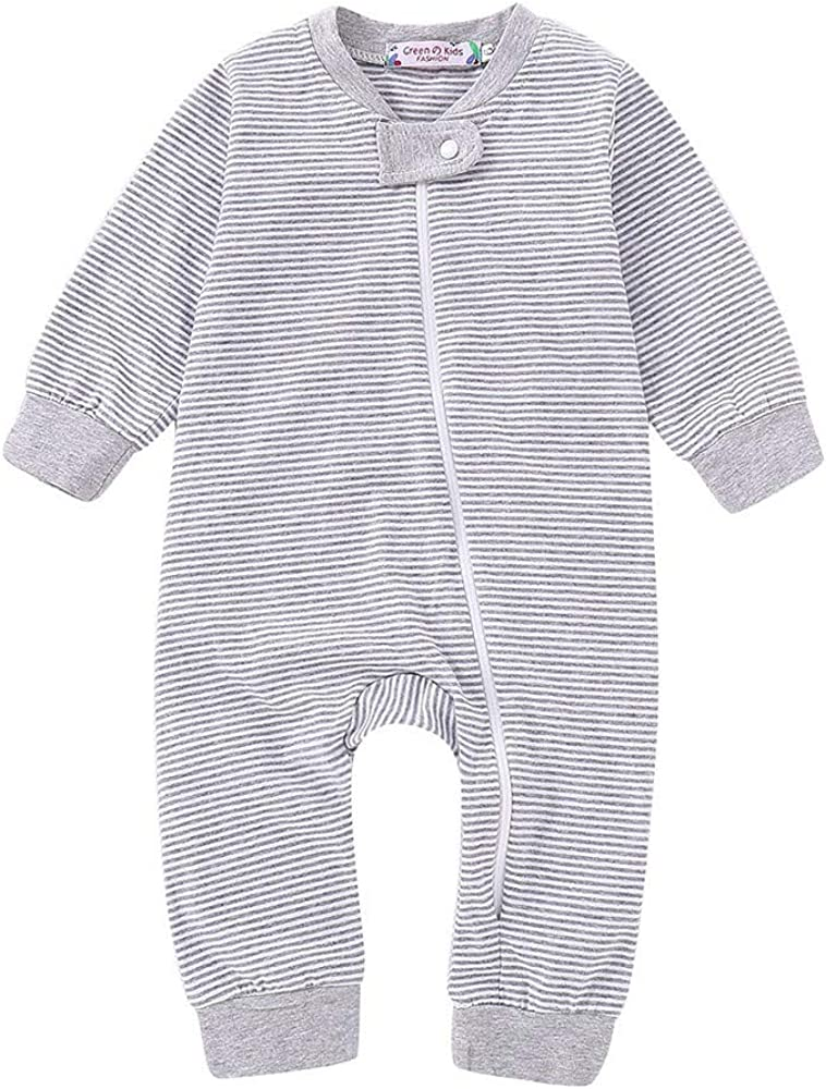 Palarn Baby Clothes Newborn Baby Girls Boys Long Sleeve Zipper Packs Stripe Romper Jumpsuit Clothes