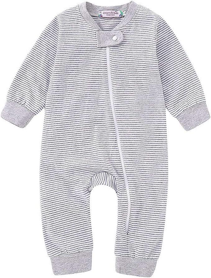 Carolilly Newborn Baby Long Sleeve Romper Sleepwear//Pajamas Zipper Onesie Footed Playsuit
