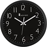 Amazon Brand - Solimo 11-inch Wall Clock (Silent Movement, Black)