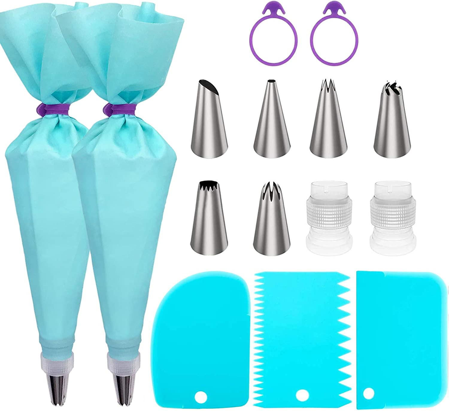 Piping Bags and Tips Set, Cake Decorating Supplies for Baking with Reusable Pastry Bags and Tips, Standard Converters, Silicone Rings, Cake Decorating Tools for Cookie Icing, Cake, Cupcake