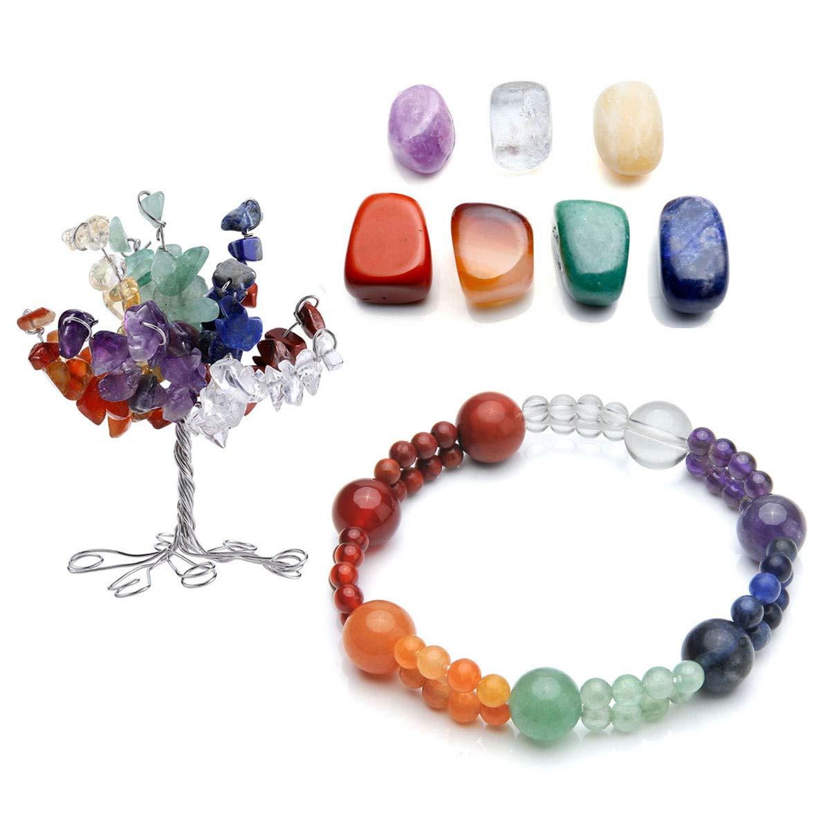 CrystalTears 7 Chakra Gems Tree Life Set,Money Tree+ Irregular Chakra Stones+ Chakra Brarcelet Tree Pendant Reiki Healing Feng Shui Spiritual Decor Ornaments