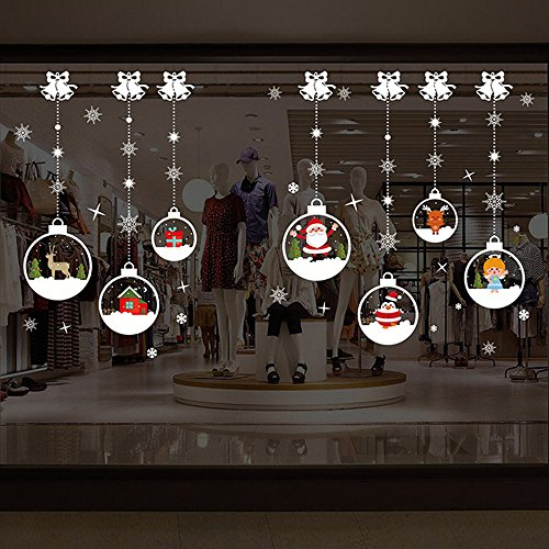 Auwer Christmas Window Clings Decorations - Santa Claus Snowman Elk Wall Stickers Winter Christmas Party Decal (A)