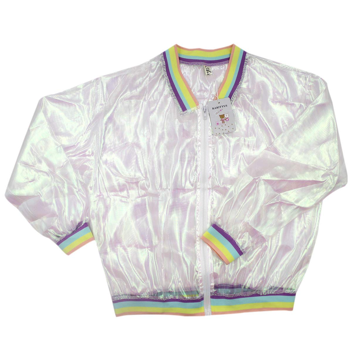 3fa5cd926a9c RARITYUS Women Girls Hologram Rainbow Bomber Jacket Iridescent Transparent  Summer Sun-Proof Coat at Amazon Women s Coats Shop