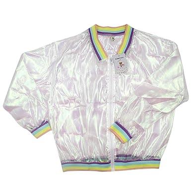 RARITYUS Women Girls Hologram Rainbow Bomber Jacket Iridescent ... d11a579446cf