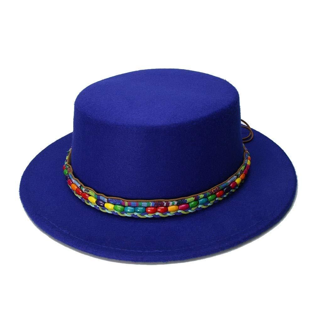 Fashion Warm Comfortable Hats for Women Retro Kid Vintage 100/% Wool Wide Brim Cap Pork Pie Porkpie Bowler Hats Nation Wind Bead Leather Band