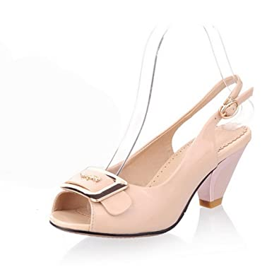 AmoonyFashion Womens Solid Cow Leather High-Heels Open Toe Buckle Sandals