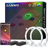 "Sanwo Cornhole Lights, 16 Million RGB Colors Changing Cornhole Board Ring LED Lights App Controlled, 6"" Standard Corn…"