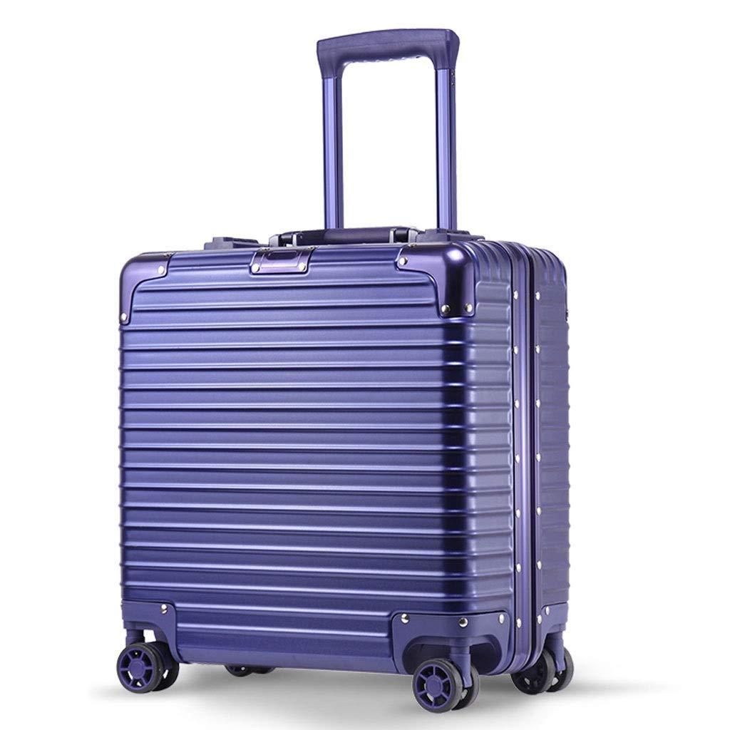FRF トロリーケース- 男性と女性の小さなトロリーケース18インチ、ユニバーサルホイールビジネススーツケーススチュワーデス搭乗スーツケース (色 : 青, サイズ さいず : 18in) B07R1KKTBG 青 18in