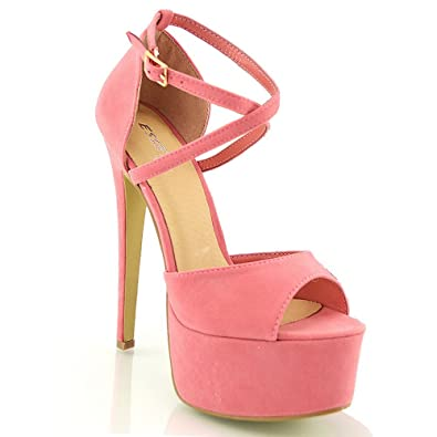 e3c27213585 ESSEX GLAM Womens Strappy Ankle Strap High Heel Platform Sandals (5 B(M)