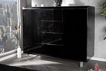 Kommode schwarz lack  Design Highboard RIO hochglanz Lack schwarz Kommode 4 Schubladen 2 ...