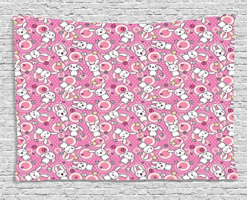 asddcdfdd Cartoon Animal Tapestry, Doodle Cute Kawaii Illustration Stars Hearts Bones Flower Girls Design, Wall Hanging for Bedroom Living Room Dorm, 80 W X 60 L Inches, Pink Peach White by asddcdfdd