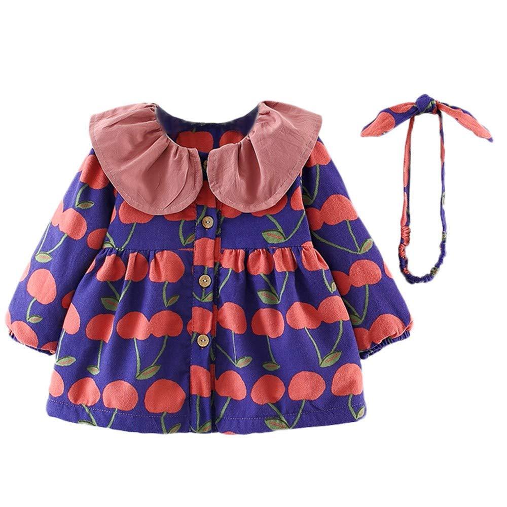 Set Zaino LEvifun Vestito Bambina Modelli Autunnali e Invernali Baby Manica Lunga Stampa Floreale Lace Trim Plus Velluto Spesso Princess Dress