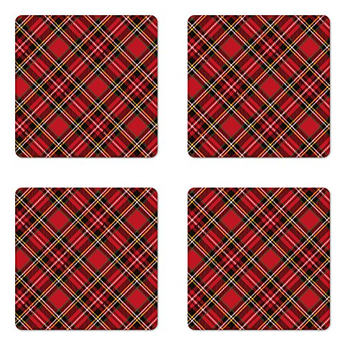 (Lunarable Retro Coaster Set of Four, Diagonal Traditional Vintage Scottish Tartan Pattern Striped Checkered Geometric Tile, Square Hardboard Gloss Coasters for Drinks, Multicolor)