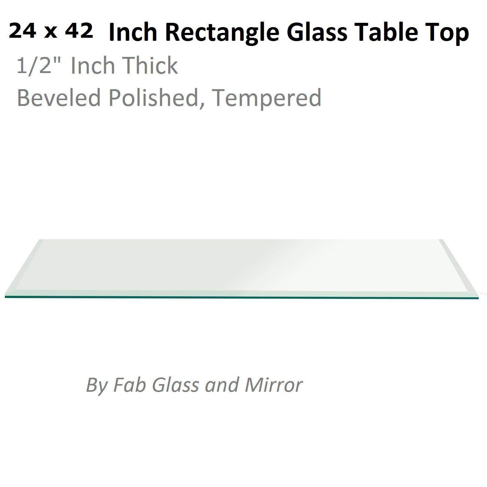 Fab Glass and Mirror 1/2'' Thick Beveled Tempered Radius Corners Rectangle Glass Table Top, 24'' X 42''