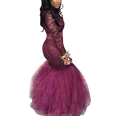 ABaowedding Womens Evening Dress 2018 Mermaid Sequins Lace Long Sleeve Prom Gowns Grape ...