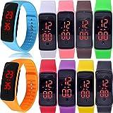 Yunanwa 10 Pack Wholesale Women Men Kids LED Sports Bracelet Wrist Watch Silicone Band Digital Unisex