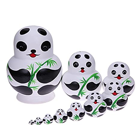 10pcs Panda Nesting Dolls Handmade Basswood Russian Matryoshka Gifts Toys Crafts