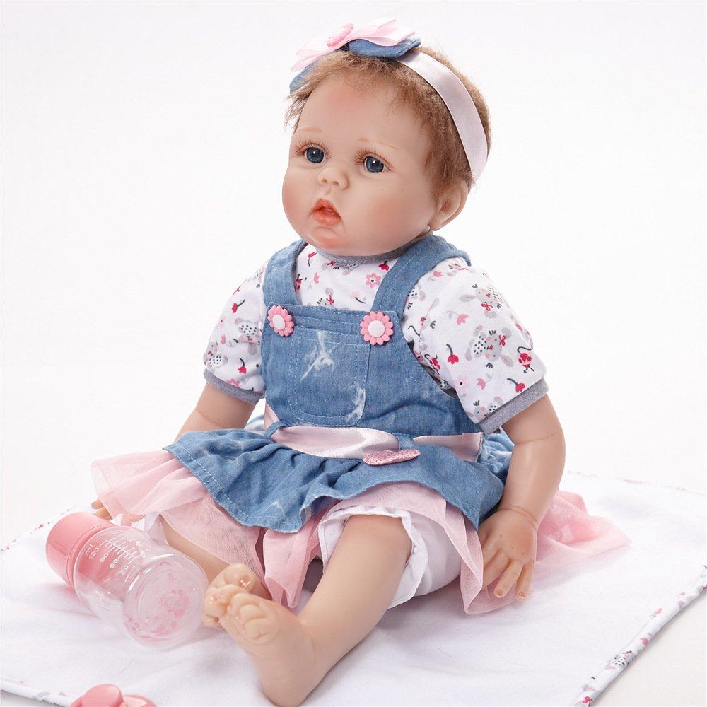 ZMH 55 Cm Reborn Baby Dolls Doux Touch Belle Premmie Baby Doll Réaliste Reborn Bébé Pupular Cadeau De Noël 22 Pouces