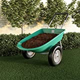 Pure Garden (PURNC) 50-LG1079 Pure 2-Wheeled Garden Wheelbarrow – Large Capacity Rolling Utility Dump Cart for Residential DIY Landscaping, Lawn Care and Remodeling