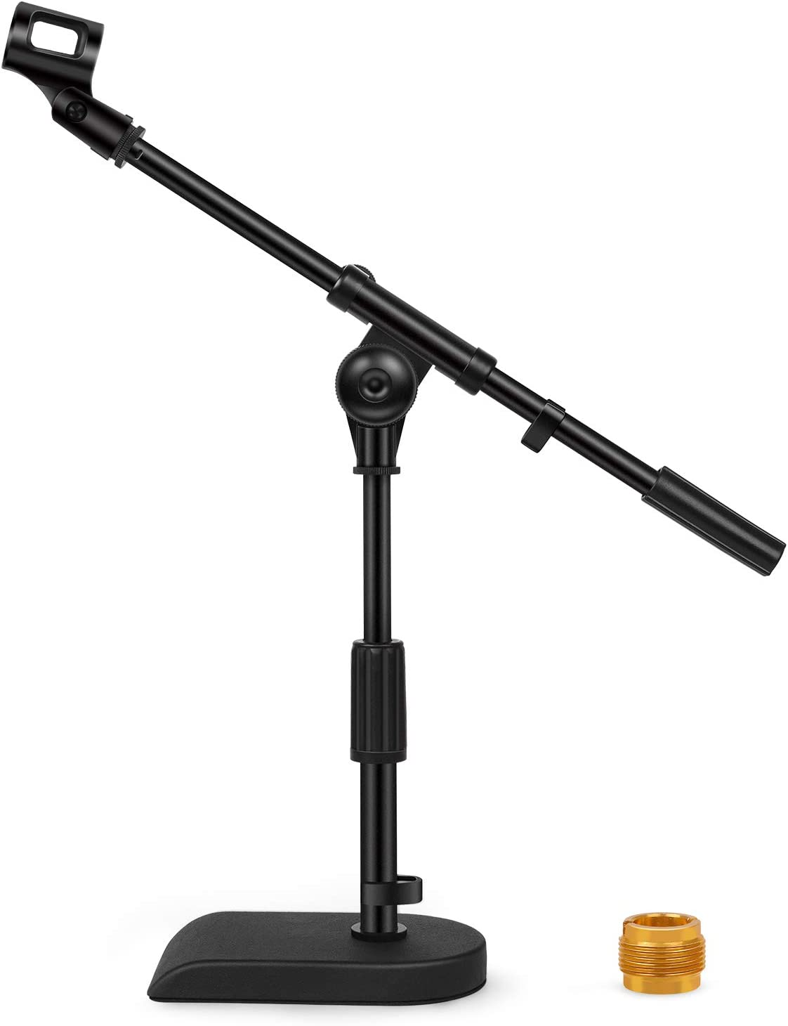 InnoGear Adjustable Desk Microphone Stand, Weighted Base with Soft Grip Twist Clutch, Boom Arm, 3/8