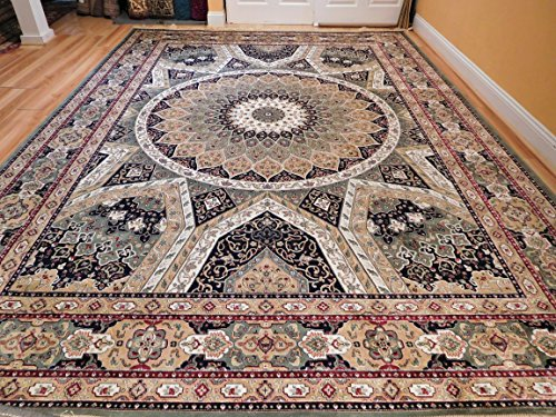 Luxury Carpet (Stunning Persian Silk Area Rugs 8x11 Traditional Carpet Large Green Tabriz Design Carpet Luxury Green Silk Rug 8x10 Carpet For Living Rooms)