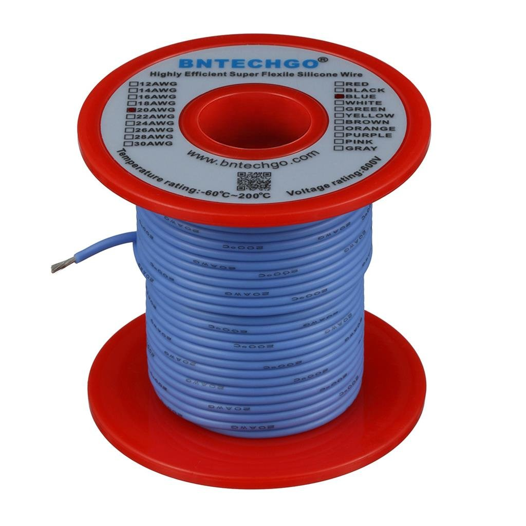 BNTECHGO 20 Gauge Silicone Wire Spool Blue 50 feet Ultra Flexible High Temp 200 deg C 600V 20 AWG Silicone Rubber Wire 100 Strands of Tinned Copper Wire Stranded Wire for Model Battery Low Impedance