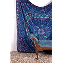 Tapestry Queen Turquoise Peacock Urban Mandala Beach Hand Print Indian Bedspread 92x82 Inches Aakriti Gallery …