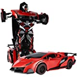 SainSmart Jr. RC Transformation Robot Car, Action Deformation Figure, Shape-shift Model Car, One-Touch Transforming, Red