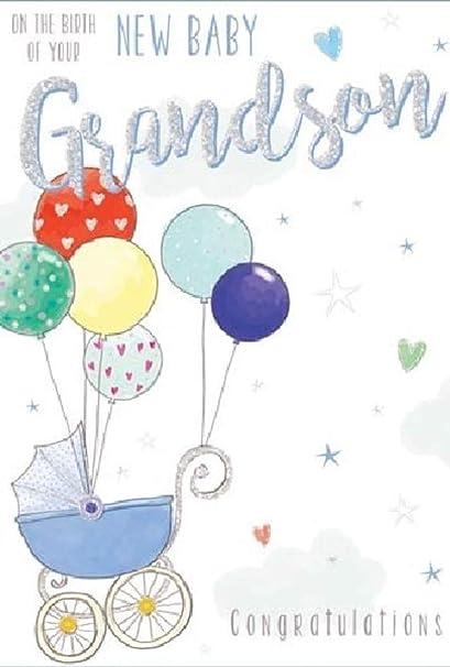 Tarjeta de felicitación para nieto recién nacido, 20 x 14 cm ...