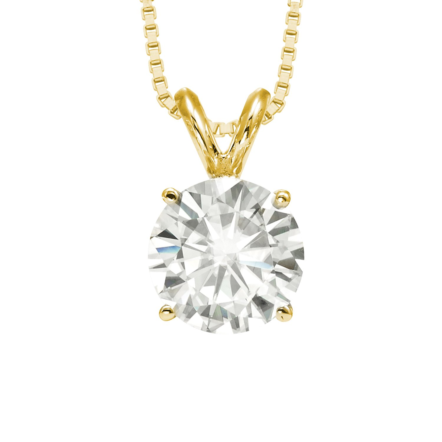 Forever Brilliant Round Cut 9.5mm Moissanite Pendant Necklace, 3.10ct DEW By Charles & Colvard