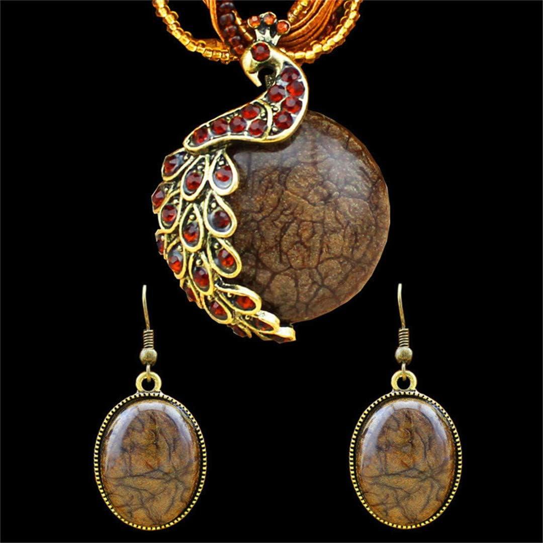Juego de collar y pendientes de resina con colgante de pavo real hecho a mano, para mujer, chapado en bronce antiguo, regalo de moda