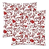 InterestPrint 2 Pack Valentines Pattern Throw Cushion Pillow Case Cover 18x18 Twin Sides, Red and White Valentine's Gift Zippered Pillowcase Set Shams Decorative …