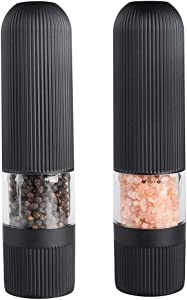 Electric Salt and Pepper Grinder Set, Automatic One Handed Operation Pepper and Salt Mill, Adjustable Coarseness, Battery Powered Grinding Pepper with LED Light (2 Pack)