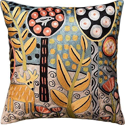 """Kashmir Designs Deer & Bird Karla Gerard Accent Pillow Cover Handembroidered Art Silk 18""""x18"""""""