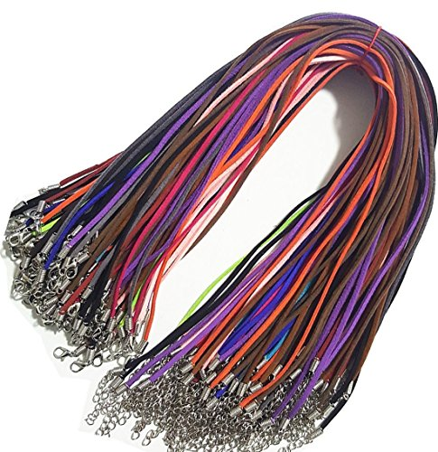 ord Lace Faux Leather Cord Bulk Necklace Cord 18'' Plus 2'' Extension Chain (20Pcs) ()