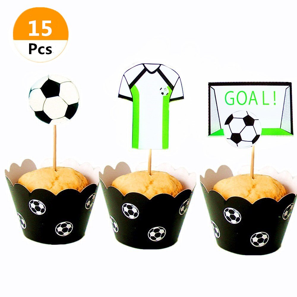 (Set of 15) Sakolla 2018 World Cup FIFA Football Soccer Cake Cupcake Topper Picks Table Decoration for Birthday Party Cake Decorations Soccer Party Picks Party Decoration Supplies