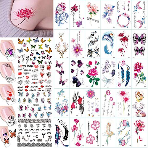 Tattoos Nail Temporary (30 Sheet Women Body Art Temporary tattoos Stickers Kit, Flower Animal Butterfly Feather Fake False Tattoos for Arm Legs Back Kids 4 Sheet Nail Art Sticker Decal Decorations (AABB015F))