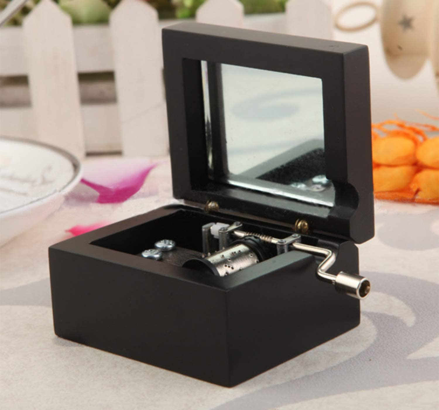 ACCOCO Personalizable Wood Musical Box Music Box Melody You are My Sunshine (Black, You are My Sunshine)