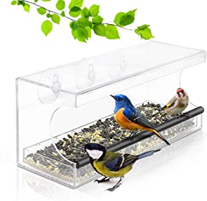 Wild Bird Feeder, Large Hanging on Window Feeder with Removable Bird Seed Tray, Outside Clear Acrylic Bird feeders House