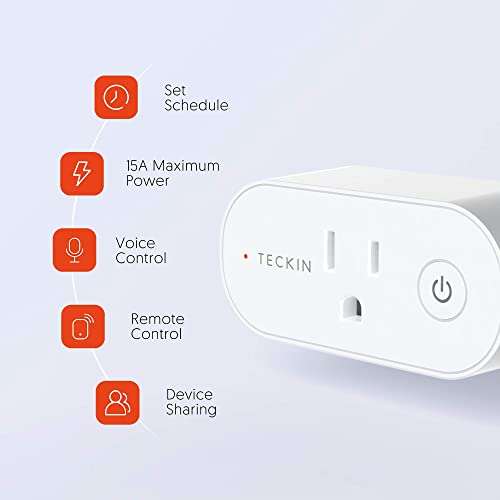 Smart Plug Compatible with Alexa, Google Home, TECKIN Smart Plug 15A WiFi Outlet Support High Power Appliance, Alexa WiFi Plugs with Timer Function 1 pack