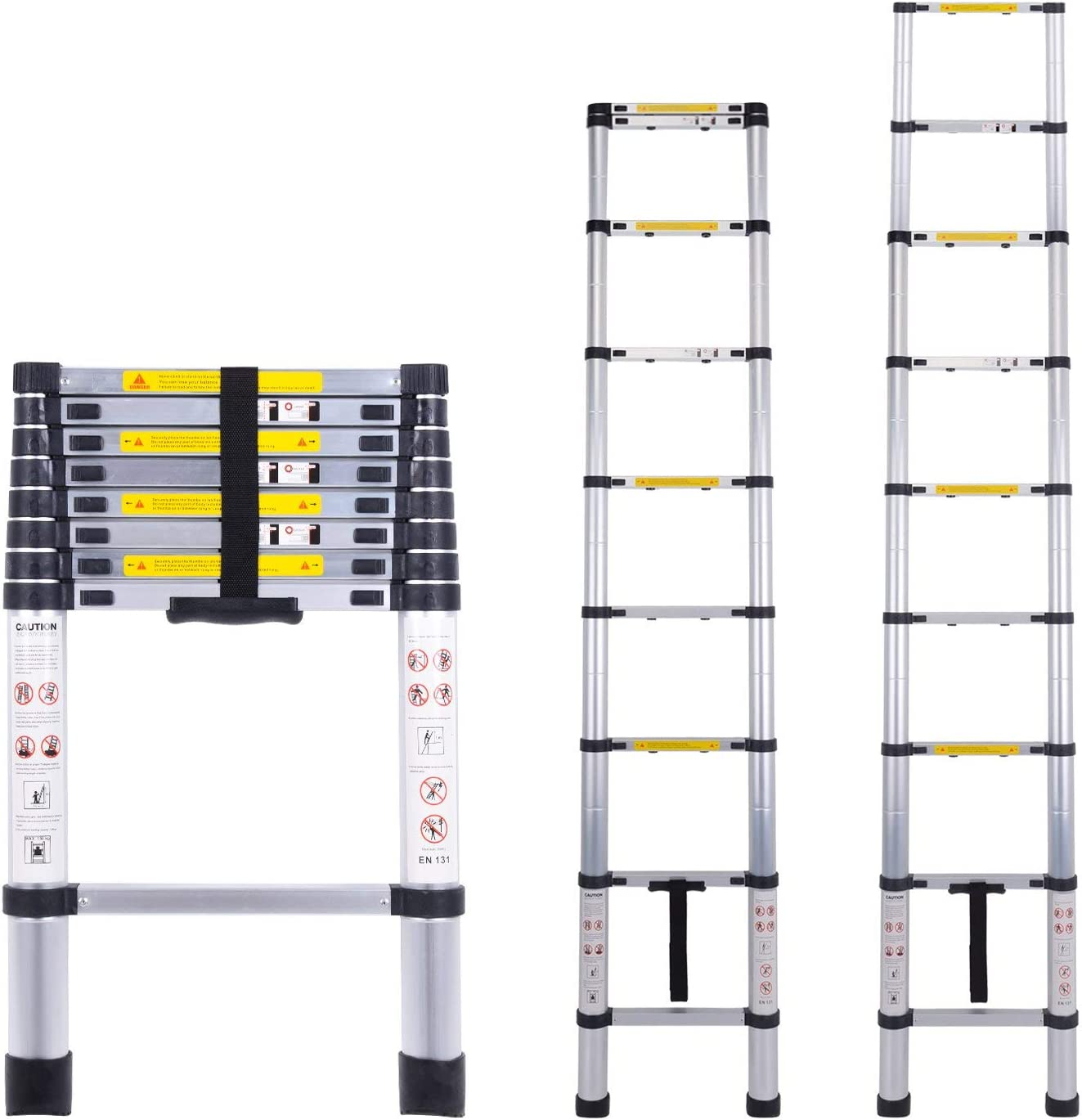 Escalera telescópica multiusos de aluminio portátil Escalera plegable y extensible EN131 y normas CE(2.6M): Amazon.es: Bricolaje y herramientas