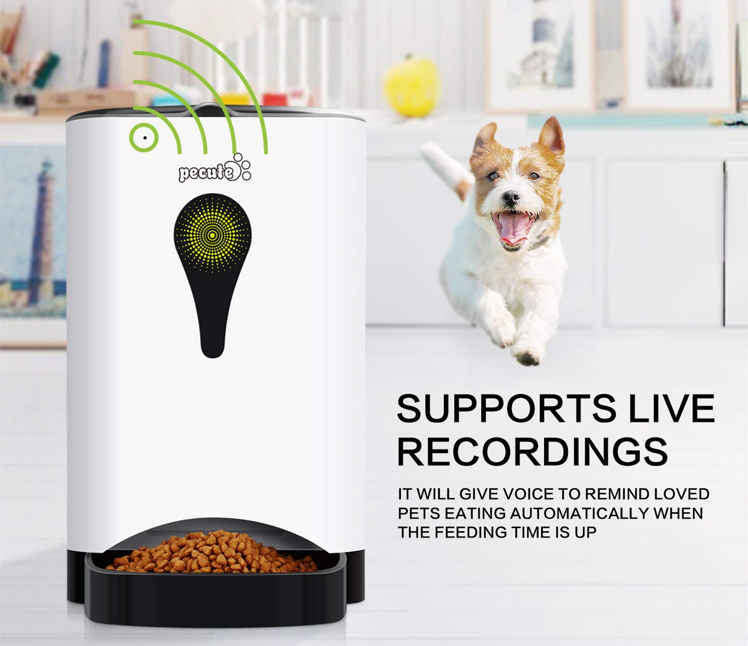 Pecute Automatic Pet Feeder 4.5L Food Dispenser for Dogs,Cats & Small Animals -Portion Control & Voice Recording,Timer Programmable Up to 9 Meals a Day