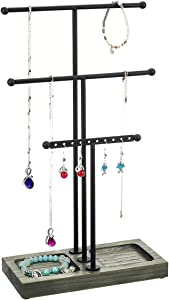 MORIGEM 3 Tier T-bar Jewelry Organizer, Multifunctional Jewelry Stand with Solid Wood Base for Bracelet, Necklace & Earring Display, Weathered Gray - Black