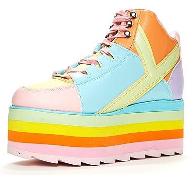 YRU Qozmo Pastel Rainbow Platform Sneaker