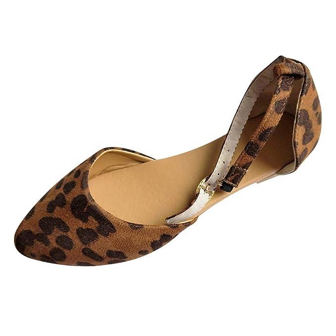 Sandalias Mujer Cuña Alpargatas Plataforma JiaMeng Zapato de Playa con Punta de Leopardo y Punta Corta y Boca Baja con Hebilla y Correa única: Amazon.es: ...