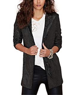 Onsoyours Women Casual Work Office Blazer Double Breasted Stand Collar Suit Long Sleeve Jackets Slim Coat Outwear Business Pocket Long Outerwear
